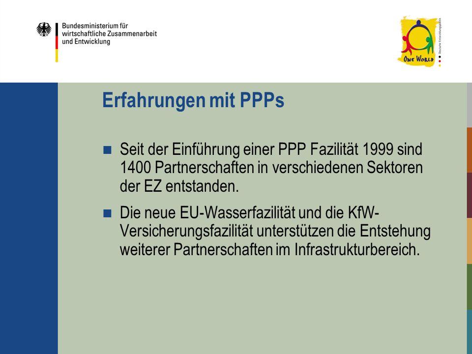 Erfahrungen mit PPPs Seit der Einführung einer PPP Fazilität 1999 sind 1400 Partnerschaften in verschiedenen Sektoren der EZ entstanden. Die neue EU-W