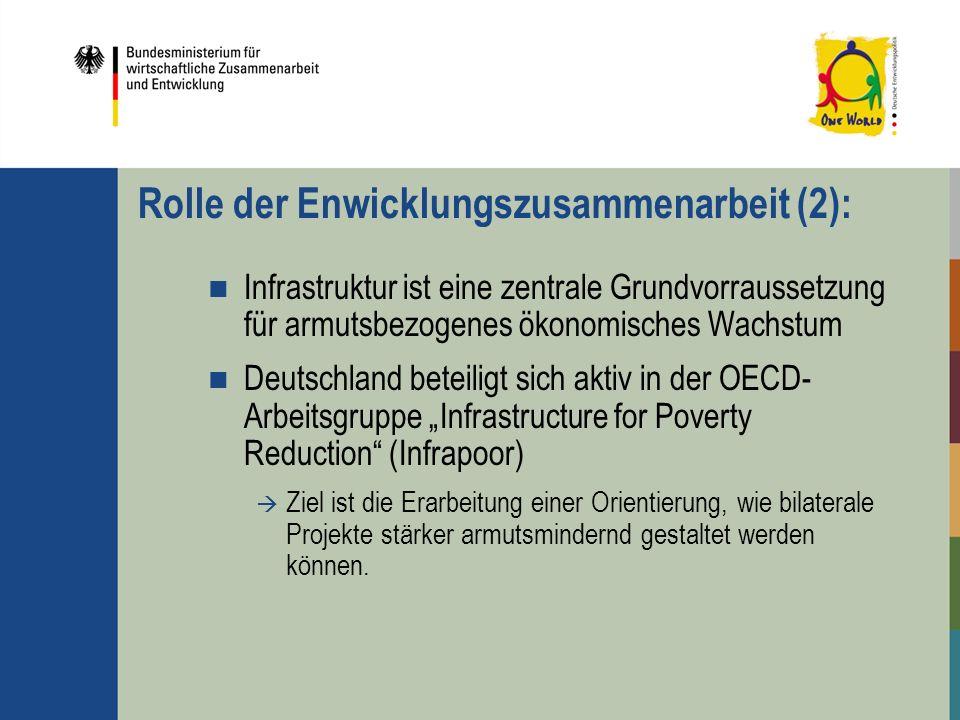 Rolle der Enwicklungszusammenarbeit (2): Infrastruktur ist eine zentrale Grundvorraussetzung für armutsbezogenes ökonomisches Wachstum Deutschland bet