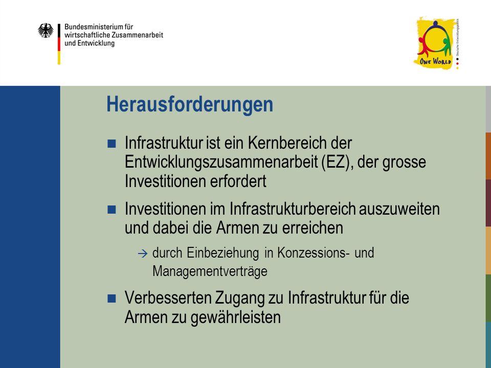 Herausforderungen Infrastruktur ist ein Kernbereich der Entwicklungszusammenarbeit (EZ), der grosse Investitionen erfordert Investitionen im Infrastru