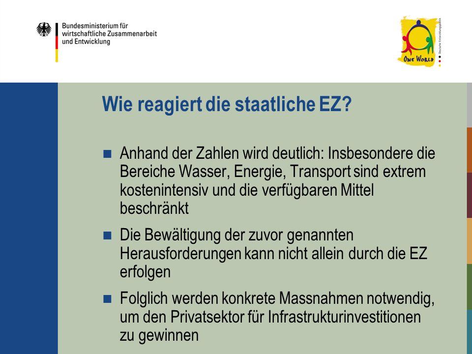 Wie reagiert die staatliche EZ? Anhand der Zahlen wird deutlich: Insbesondere die Bereiche Wasser, Energie, Transport sind extrem kostenintensiv und d