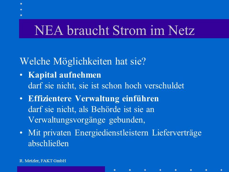R. Metzler, FAKT GmbH Beispiel 2: Private power developer Mit dieser Aufgabe betraut er die National Energy Administration. Was ihr aber fehlt ist: Ka