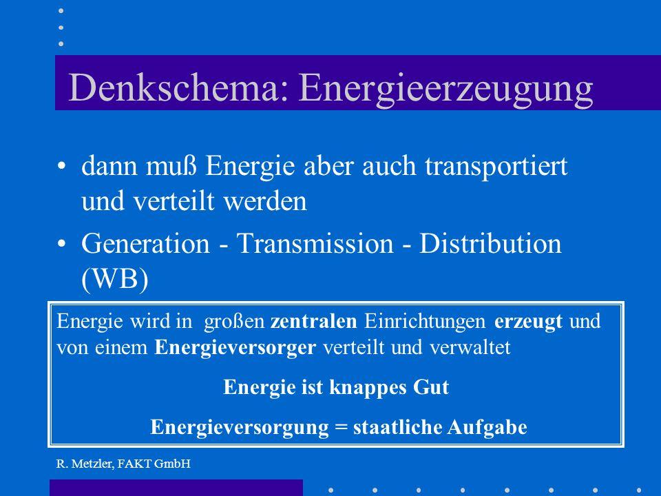 R. Metzler, FAKT GmbH Energieerzeugung Wer ENERGIEERZEUGUNG sagt, denkt: Energie = Produkt das erzeugt werden muß am besten in großen Produktionstätte
