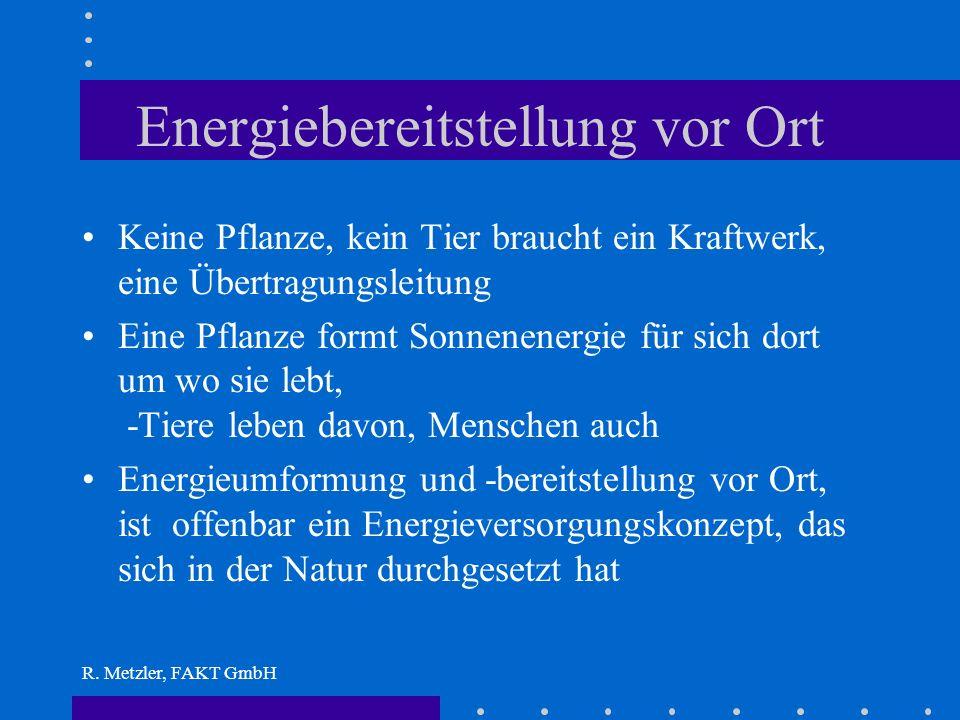 R. Metzler, FAKT GmbH Energie gibts im Überfluß Energie muß nicht erzeugt werden, sie umgibt uns ständig, wir leben davon Sie liegt meist nicht in der