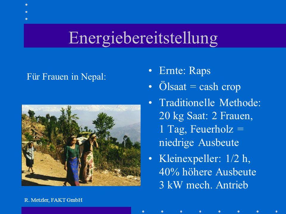 R. Metzler, FAKT GmbH Möglicher Weise falsche Fragestellung? Wenn es um Armutsbekämpfung gehen soll: Stromversorgung ist das falsche Thema Umdenken! S