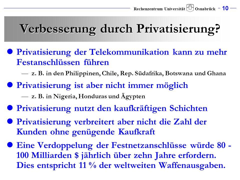 10 Rechenzentrum Universität Osnabrück Verbesserung durch Privatisierung? Privatisierung der Telekommunikation kann zu mehr Festanschlüssen führen z.