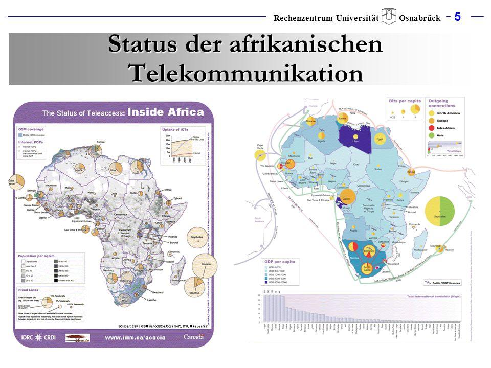 5 Rechenzentrum Universität Osnabrück Status der afrikanischen Telekommunikation