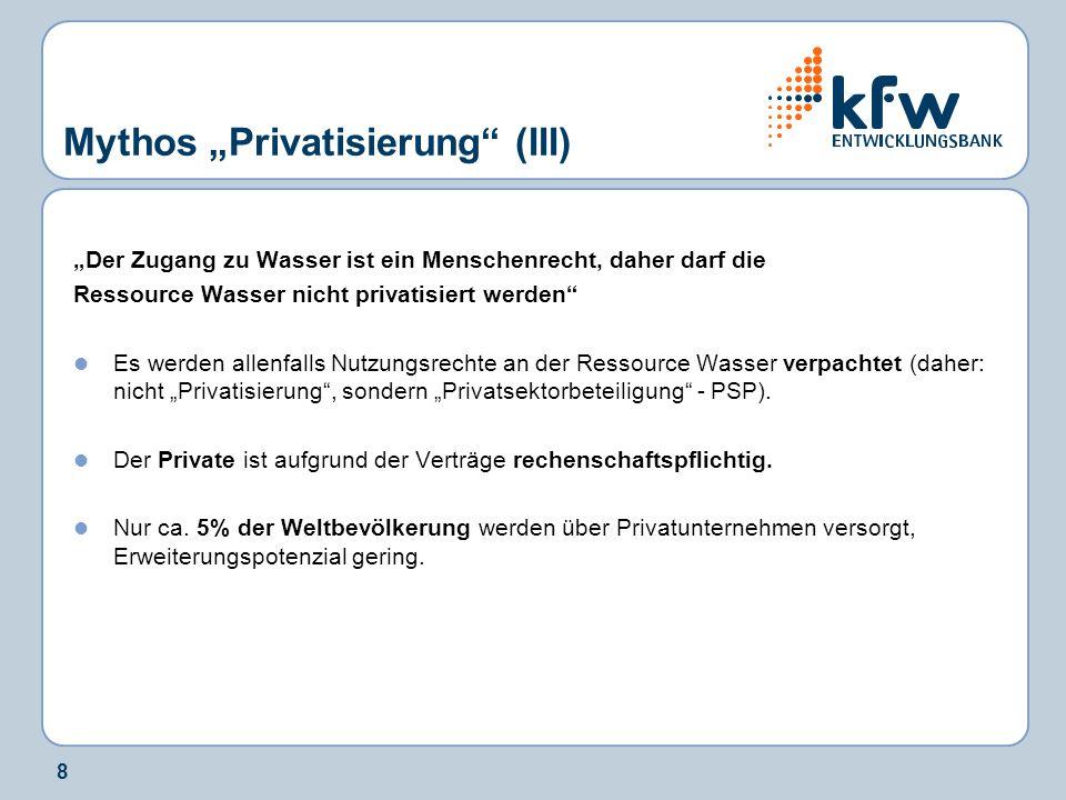 8 Mythos Privatisierung (III) Der Zugang zu Wasser ist ein Menschenrecht, daher darf die Ressource Wasser nicht privatisiert werden Es werden allenfal