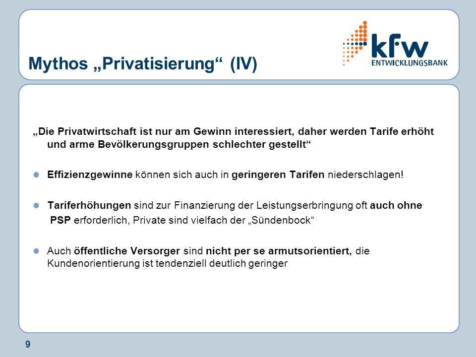 9 Mythos Privatisierung (IV) Die Privatwirtschaft ist nur am Gewinn interessiert, daher werden Tarife erhöht und arme Bevölkerungsgruppen schlechter g