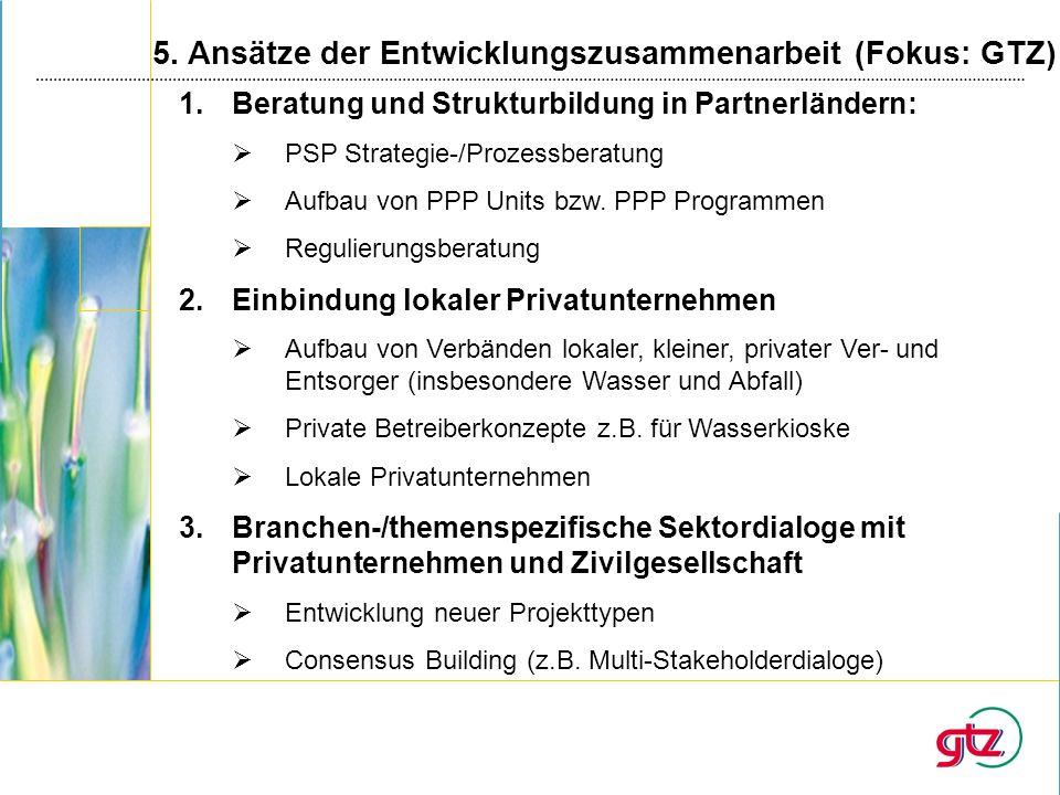 5. Ansätze der Entwicklungszusammenarbeit (Fokus: GTZ) 1.Beratung und Strukturbildung in Partnerländern: PSP Strategie-/Prozessberatung Aufbau von PPP
