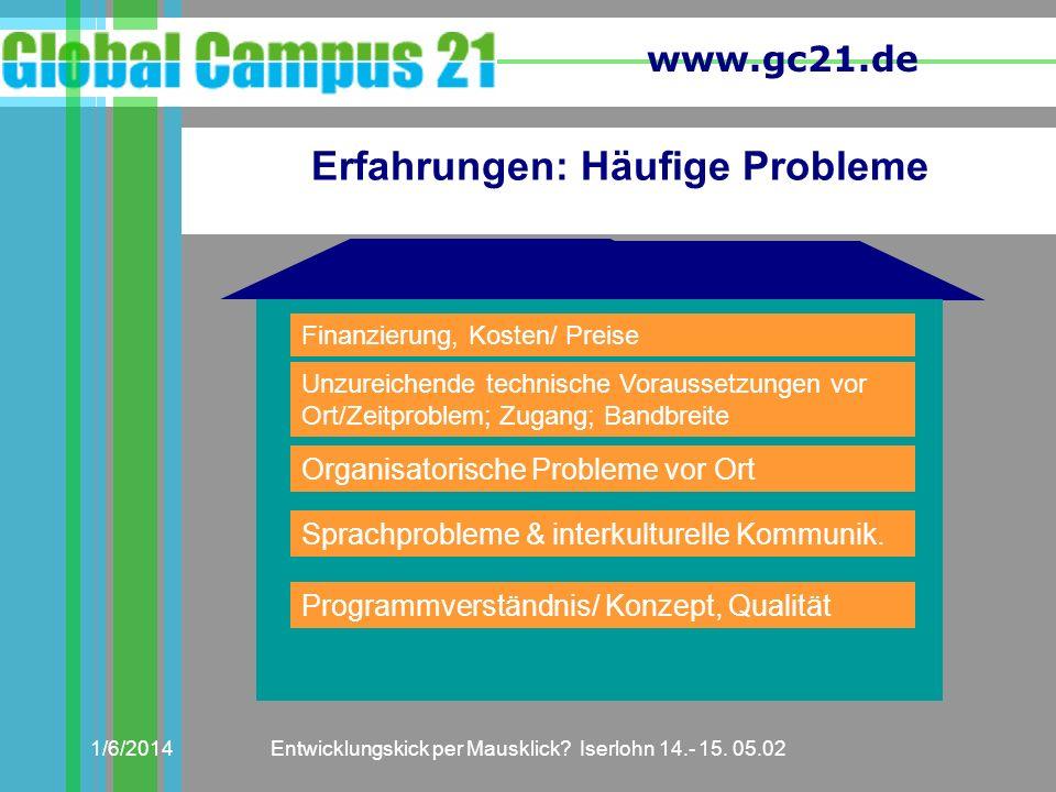 www.gc21.de 1/6/2014Entwicklungskick per Mausklick? Iserlohn 14.- 15. 05.02 Erfahrungen: Häufige Probleme Finanzierung, Kosten/ Preise Unzureichende t