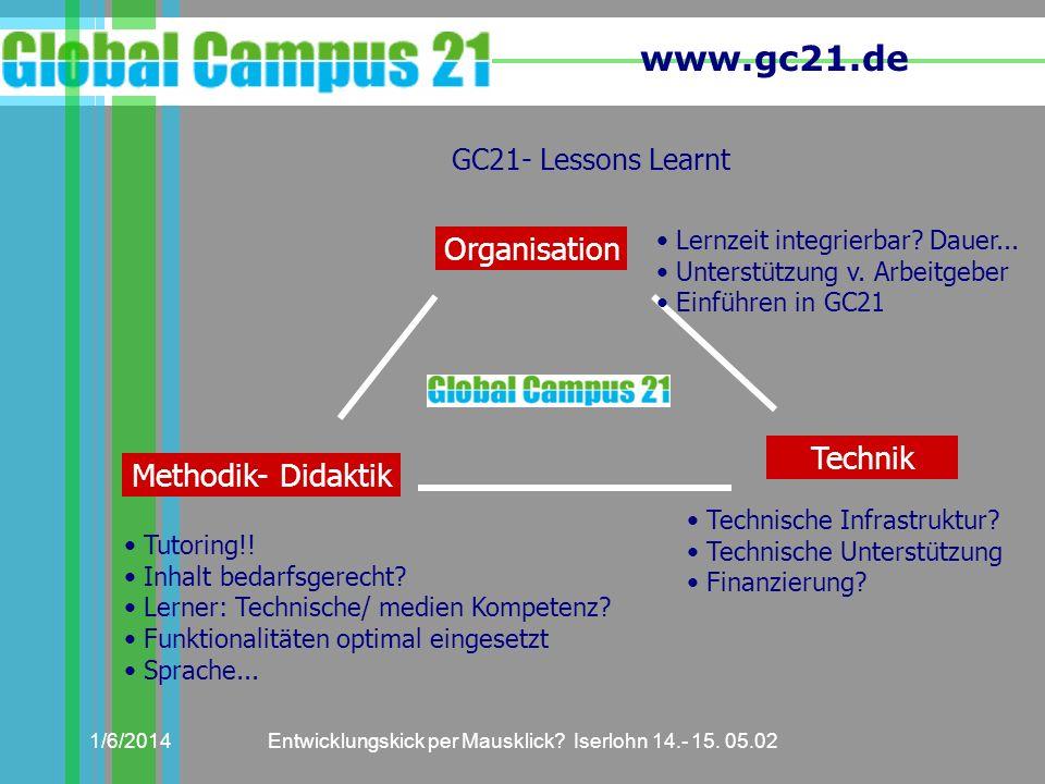 www.gc21.de 1/6/2014Entwicklungskick per Mausklick? Iserlohn 14.- 15. 05.02 GC21- Lessons Learnt Organisation Technik Methodik- Didaktik Lernzeit inte
