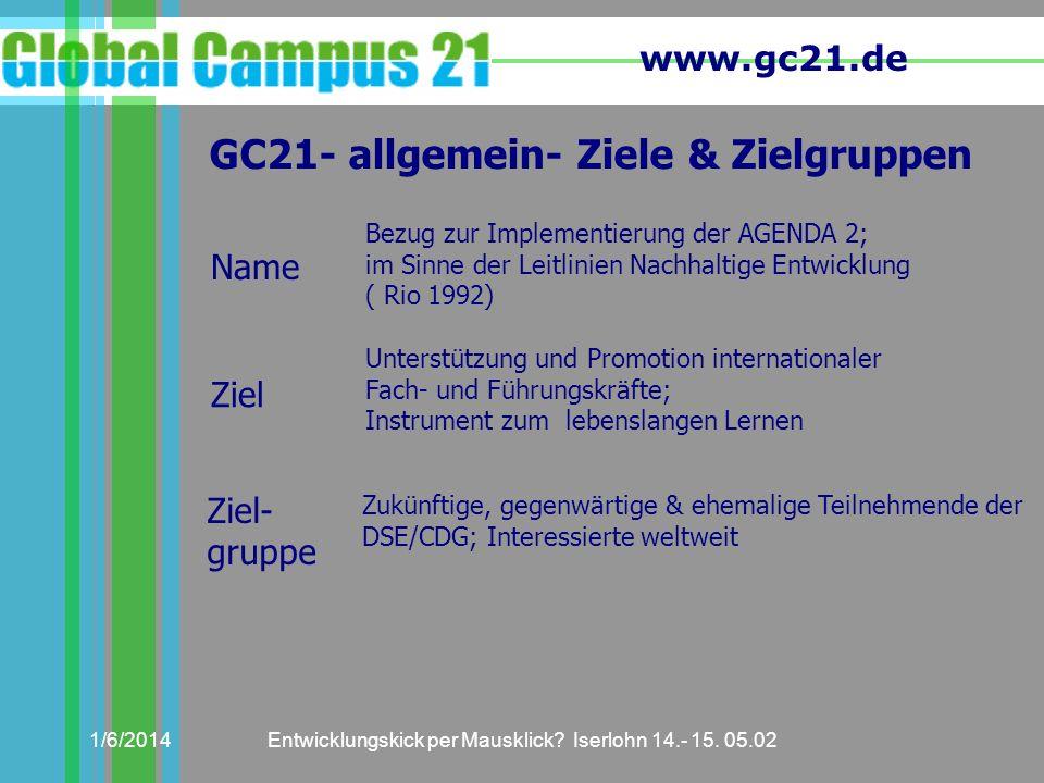 www.gc21.de 1/6/2014Entwicklungskick per Mausklick? Iserlohn 14.- 15. 05.02 GC21- allgemein- Ziele & Zielgruppen Bezug zur Implementierung der AGENDA