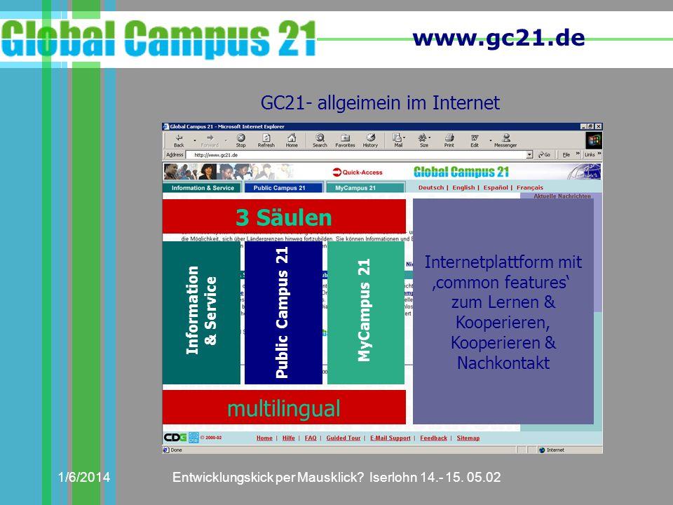 www.gc21.de 1/6/2014Entwicklungskick per Mausklick? Iserlohn 14.- 15. 05.02 GC21- allgeimein im Internet 3 Säulen Information & Service Public Campus