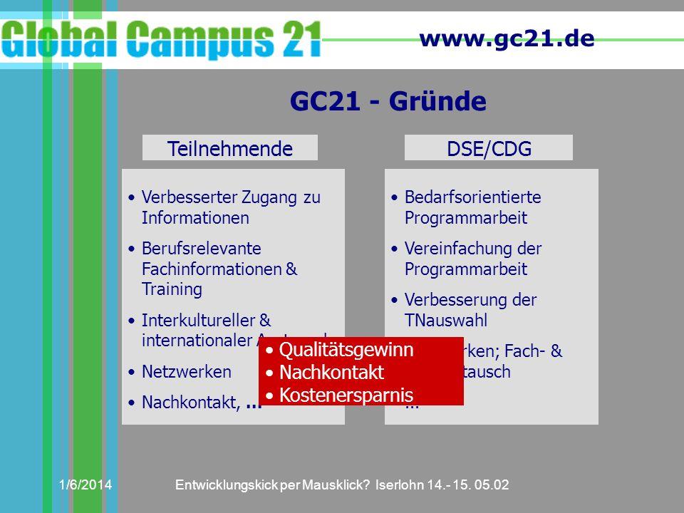 www.gc21.de 1/6/2014Entwicklungskick per Mausklick? Iserlohn 14.- 15. 05.02 GC21 - Gründe Teilnehmende Verbesserter Zugang zu Informationen Berufsrele