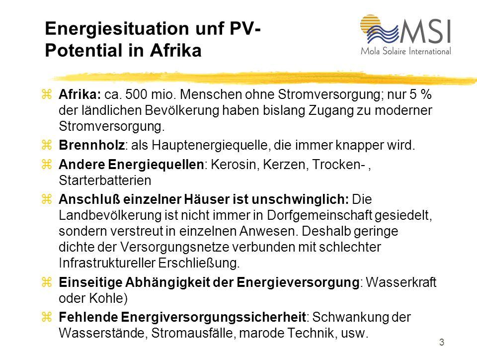 2 Gliederung des Vortrages zEnergiesituation und Solarenergiepotential in Afrika zSolarsysteme für die netzferne Stromversorgung zBedarf an solare Str