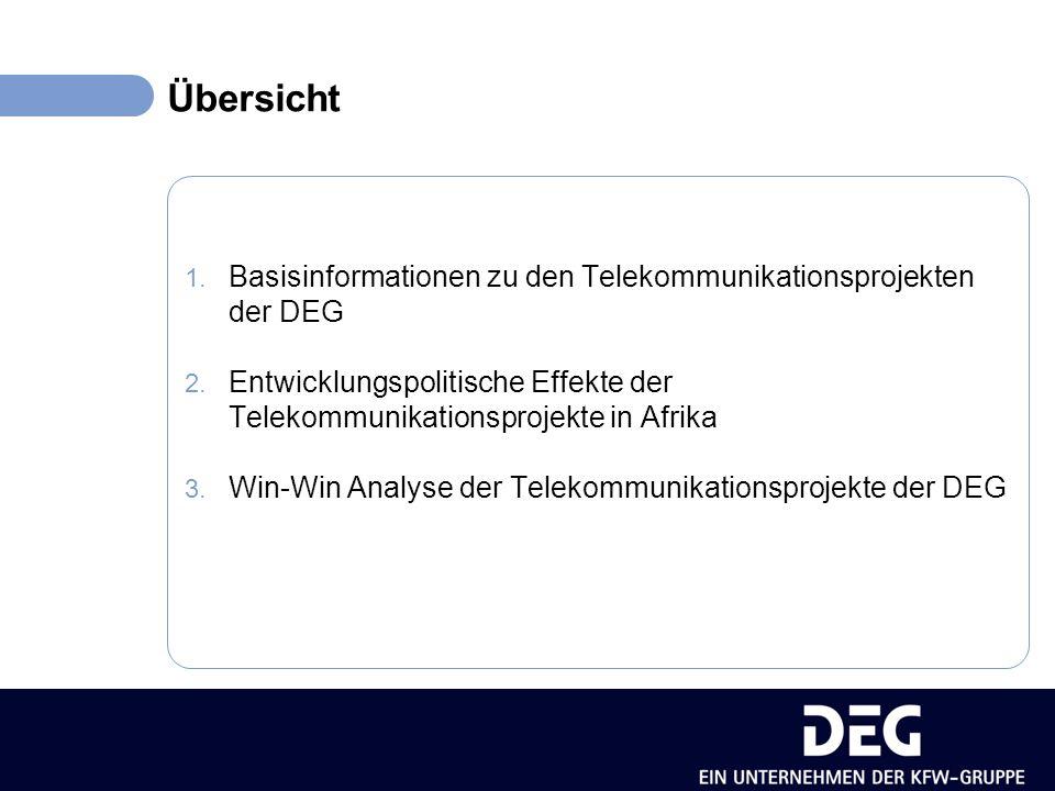 Übersicht 1. Basisinformationen zu den Telekommunikationsprojekten der DEG 2.