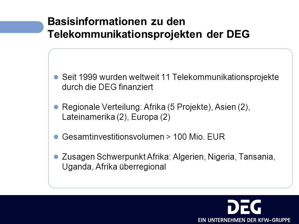 Basisinformationen zu den Telekommunikationsprojekten der DEG Entwicklung des Mobilfunks in Afrika Jahr19992001200220032005* Anzahl Mobilfunkkunden pro 100 EW Nordafrika0,75,88,211,213,9 Südafrika12,024,230,436,441,0 Sub-Sahara Afrika0,21,12,02,83,8 * geschätzt