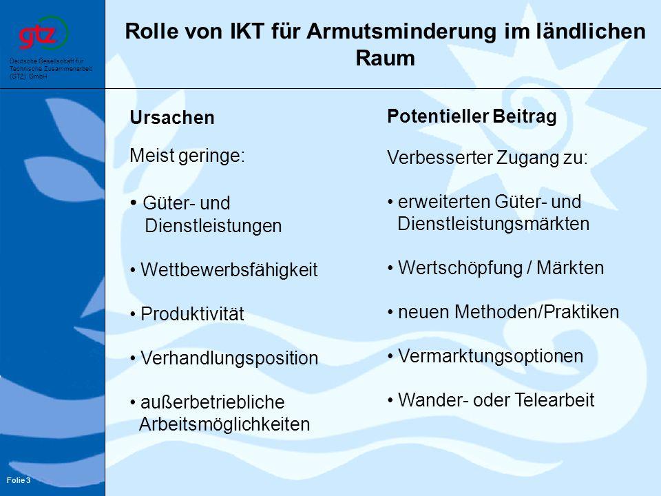 Deutsche Gesellschaft für Technische Zusammenarbeit (GTZ) GmbH Folie 3 Rolle von IKT für Armutsminderung im ländlichen Raum Ursachen Potentieller Beit