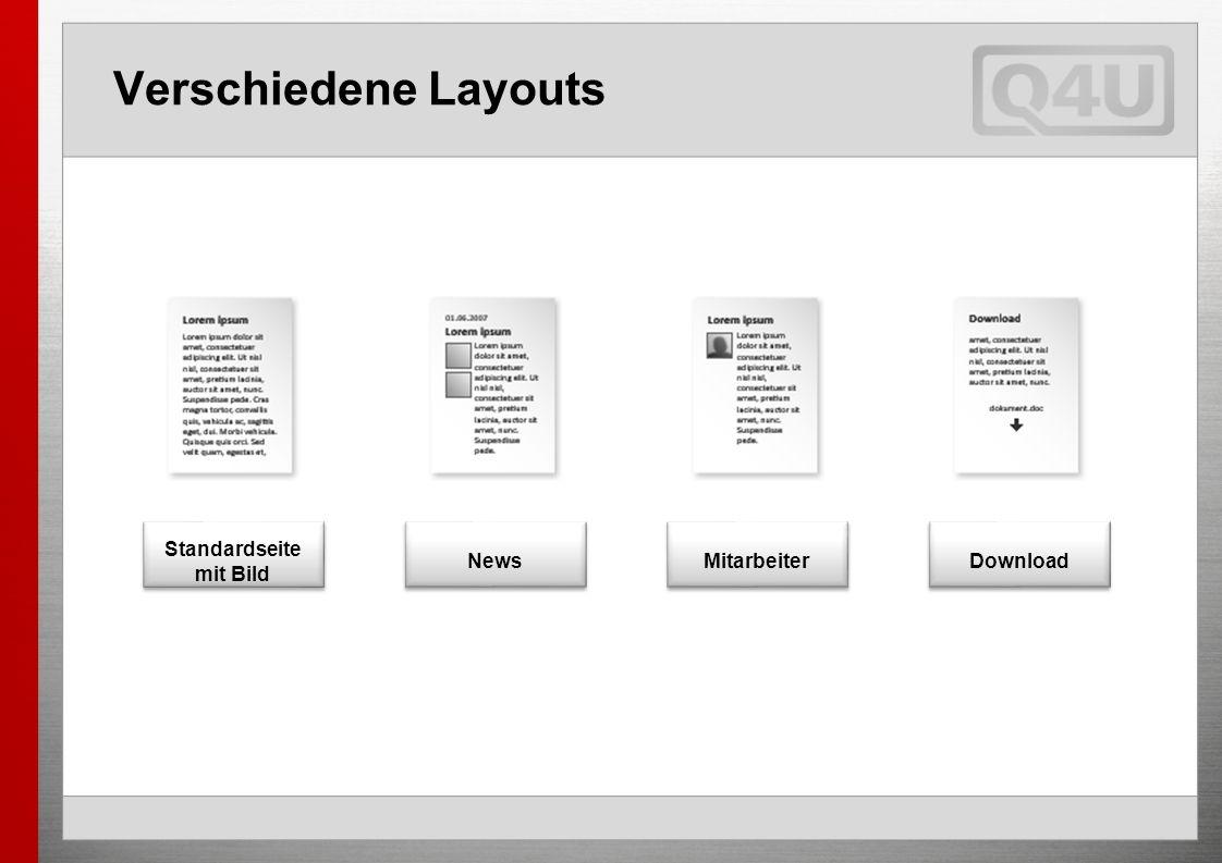 Verschiedene Layouts Standardseite mit Bild News Mitarbeiter Download