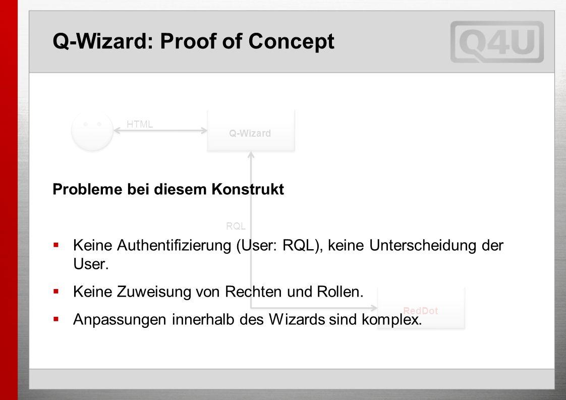 Q-Wizard: Proof of Concept Q-Wizard RedDot RQL HTML Probleme bei diesem Konstrukt Keine Authentifizierung (User: RQL), keine Unterscheidung der User.
