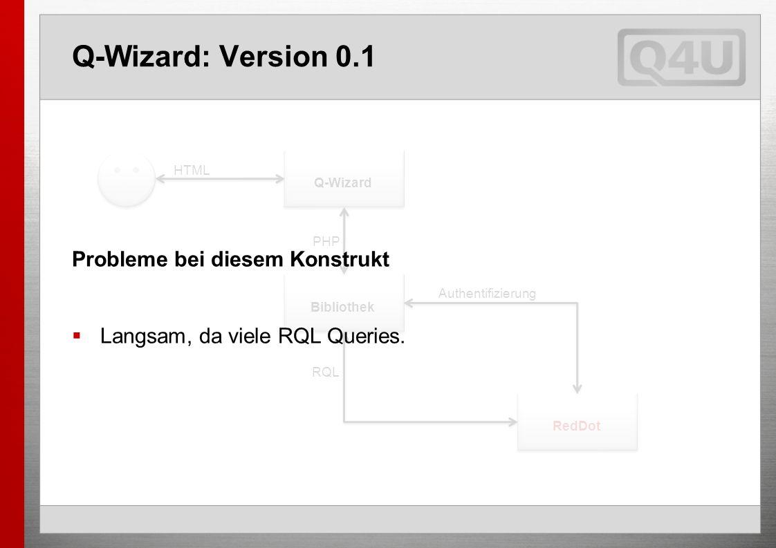Q-Wizard: Version 0.1 Q-Wizard Bibliothek RedDot Authentifizierung PHP HTML RQL Probleme bei diesem Konstrukt Langsam, da viele RQL Queries.