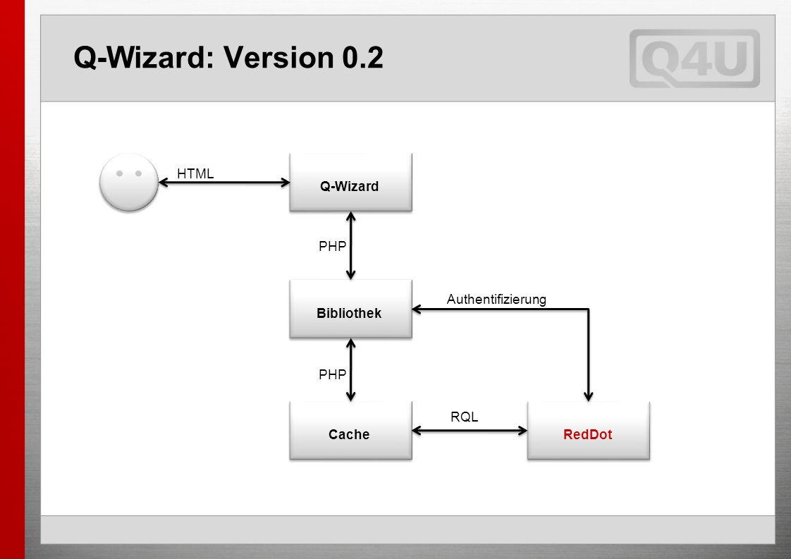 Q-Wizard: Version 0.2 Q-Wizard Bibliothek RedDot Authentifizierung PHP HTML RQL Cache PHP