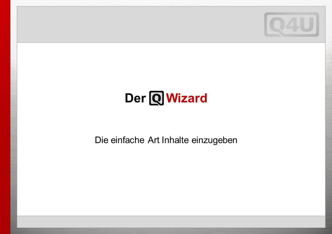 Der Q Wizard Die einfache Art Inhalte einzugeben