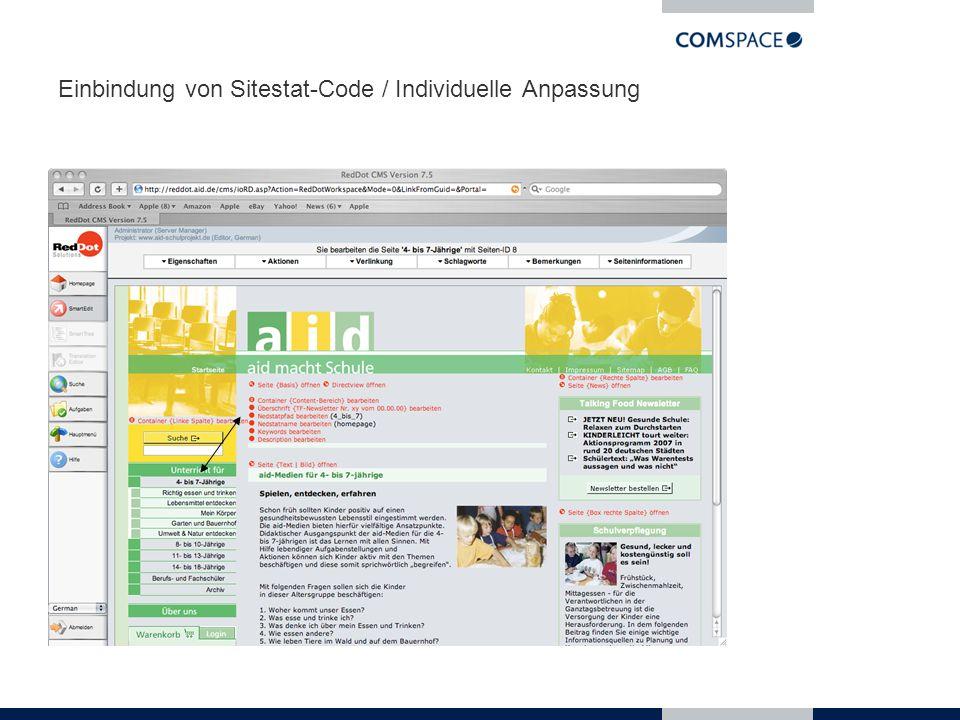 Einbindung von Sitestat-Code / Individuelle Anpassung