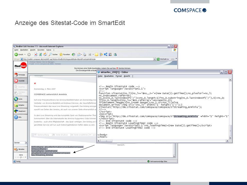 Anzeige des Sitestat-Code im SmartEdit