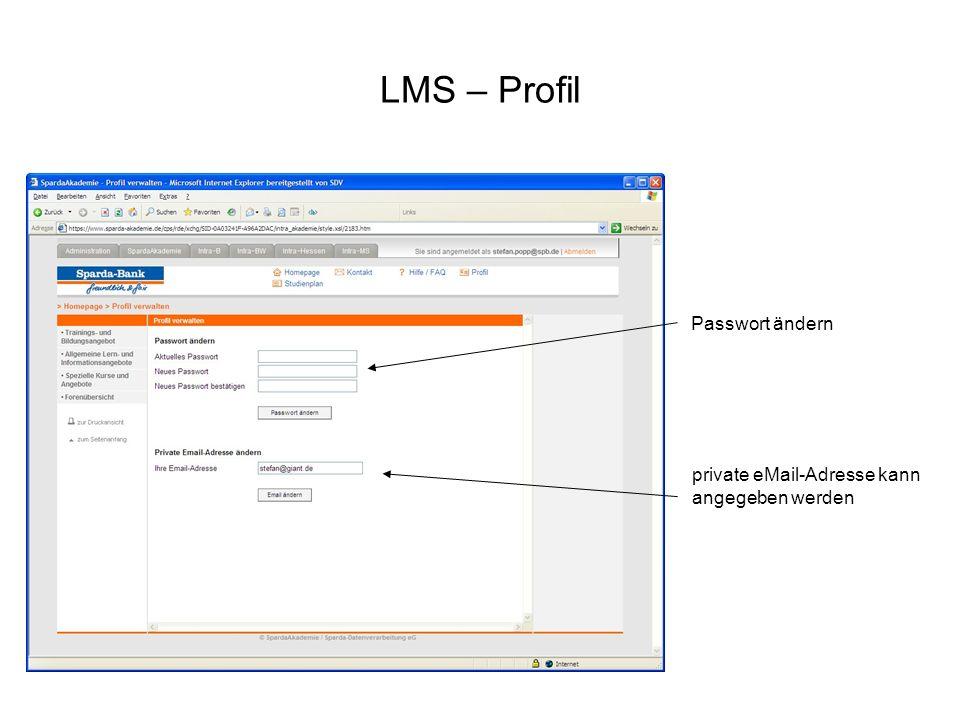 LMS – Profil Passwort ändern private eMail-Adresse kann angegeben werden