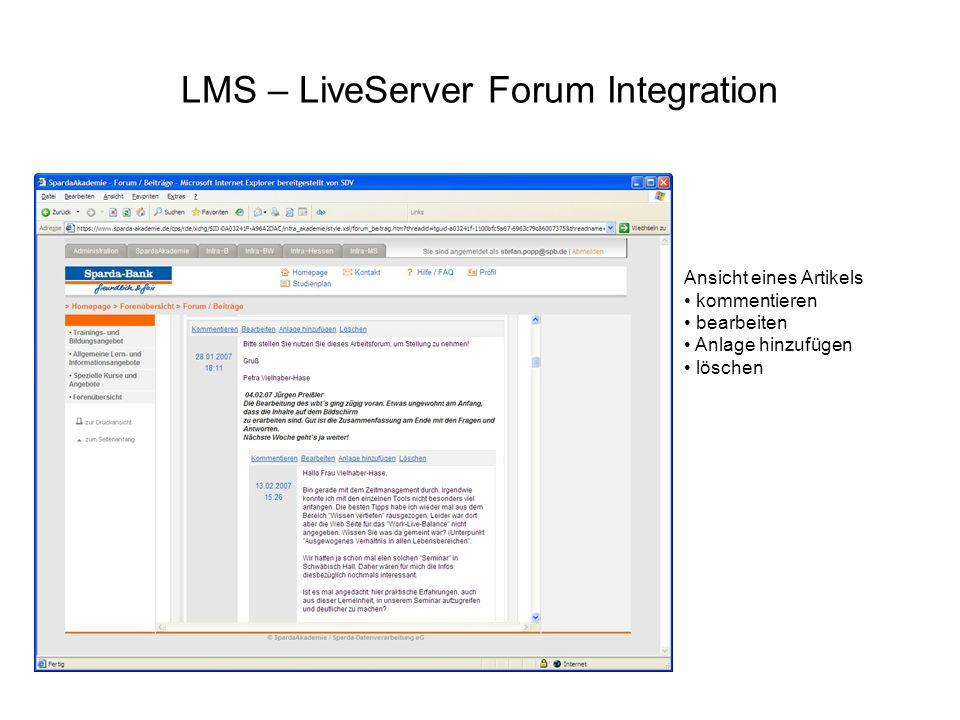 LMS – LiveServer Forum Integration Ansicht eines Artikels kommentieren bearbeiten Anlage hinzufügen löschen