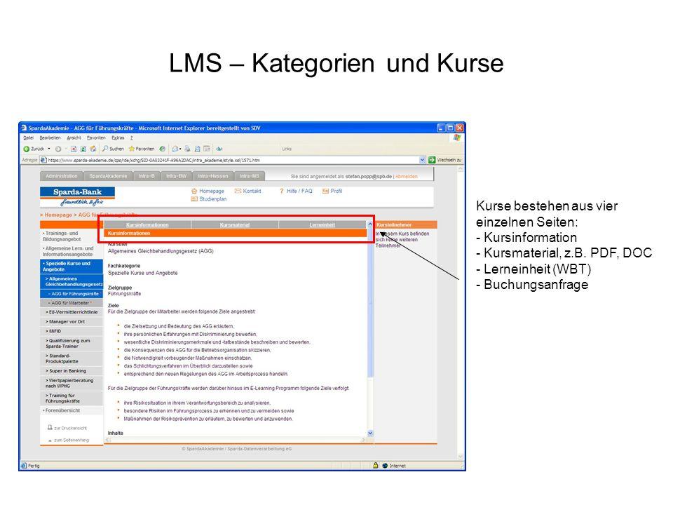 LMS – Kategorien und Kurse Kurse bestehen aus vier einzelnen Seiten: - Kursinformation - Kursmaterial, z.B. PDF, DOC - Lerneinheit (WBT) - Buchungsanf