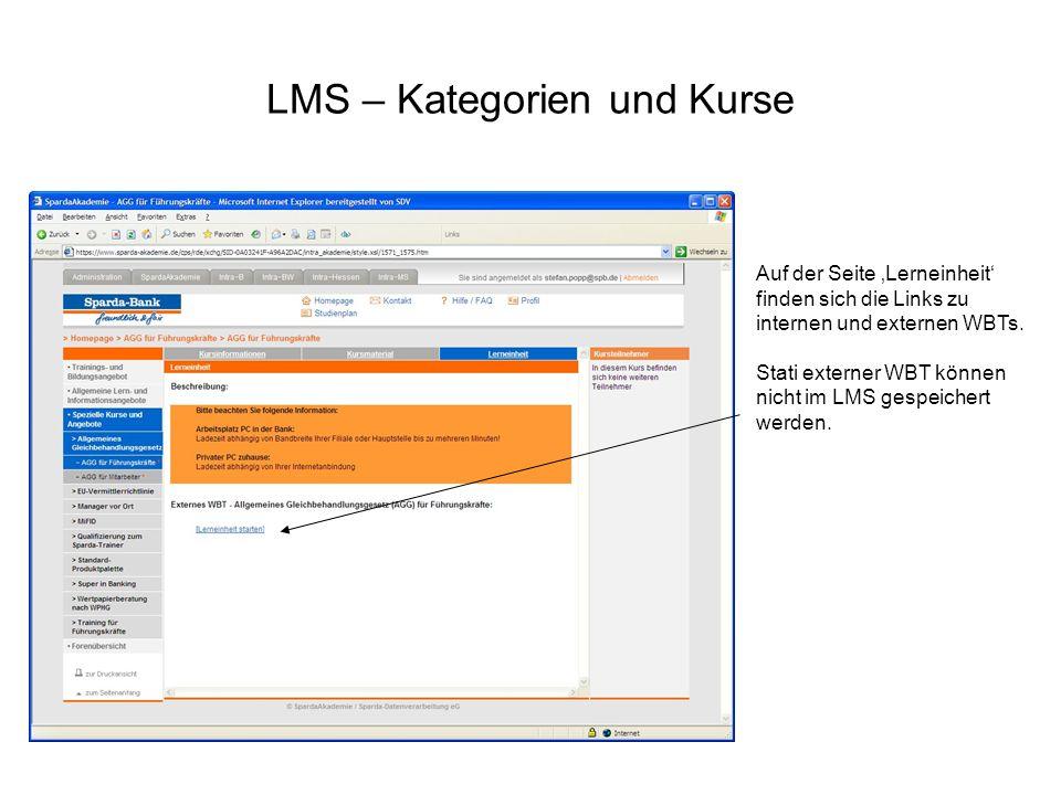 LMS – Kategorien und Kurse Auf der Seite Lerneinheit finden sich die Links zu internen und externen WBTs. Stati externer WBT können nicht im LMS gespe