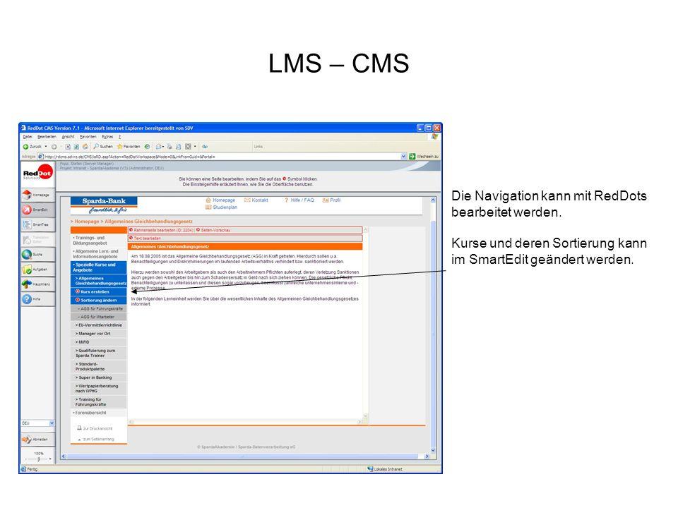 LMS – CMS Die Navigation kann mit RedDots bearbeitet werden. Kurse und deren Sortierung kann im SmartEdit geändert werden.