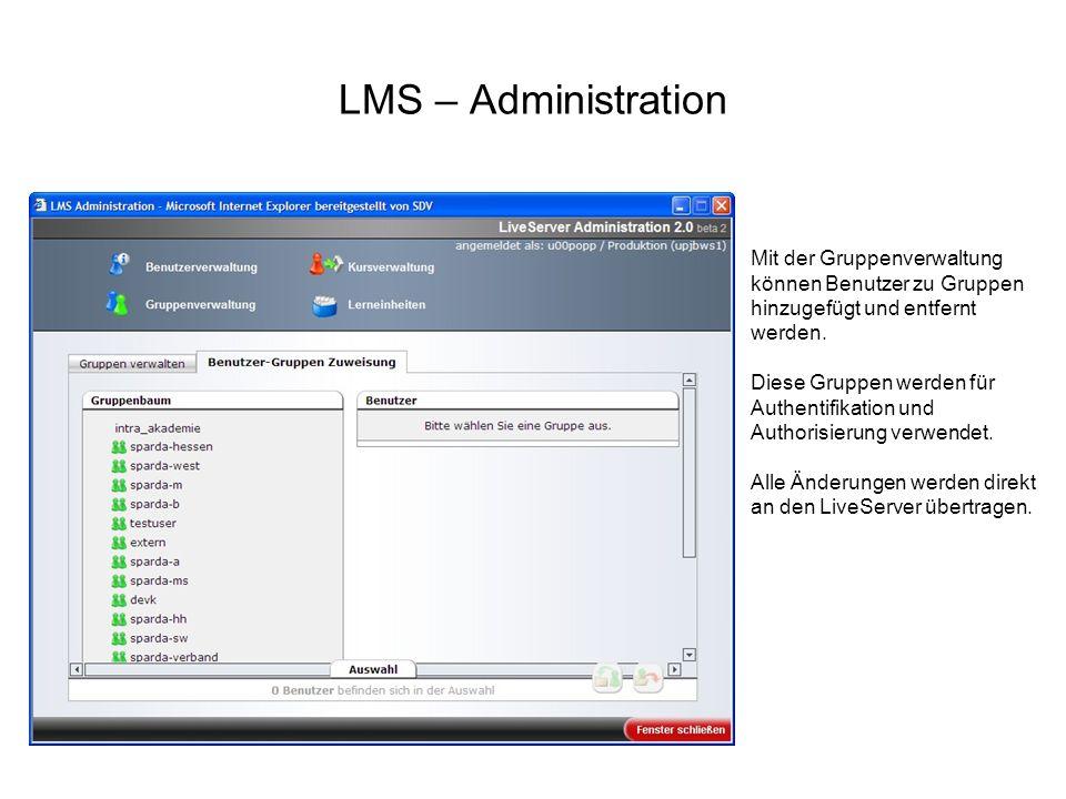 LMS – Administration Mit der Gruppenverwaltung können Benutzer zu Gruppen hinzugefügt und entfernt werden. Diese Gruppen werden für Authentifikation u