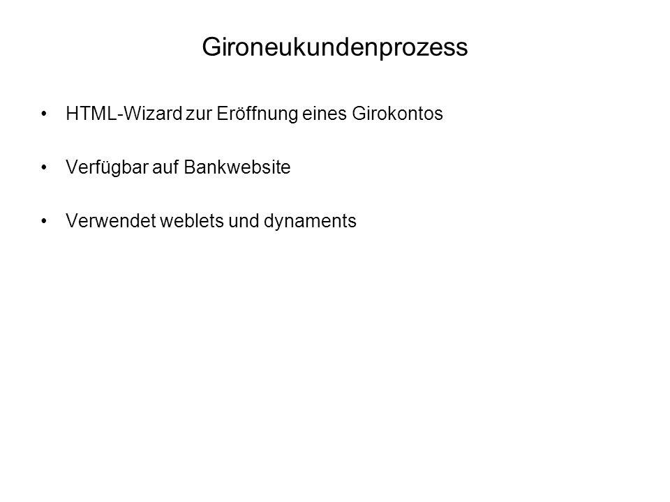 Gironeukundenprozess HTML-Wizard zur Eröffnung eines Girokontos Verfügbar auf Bankwebsite Verwendet weblets und dynaments
