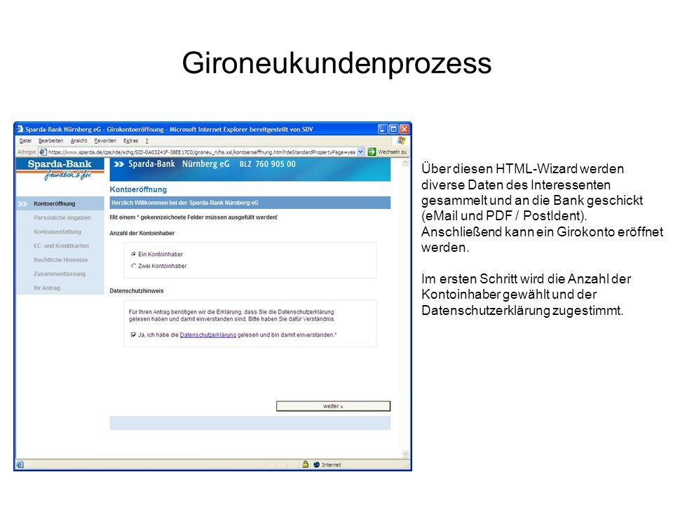Gironeukundenprozess Über diesen HTML-Wizard werden diverse Daten des Interessenten gesammelt und an die Bank geschickt (eMail und PDF / PostIdent). A