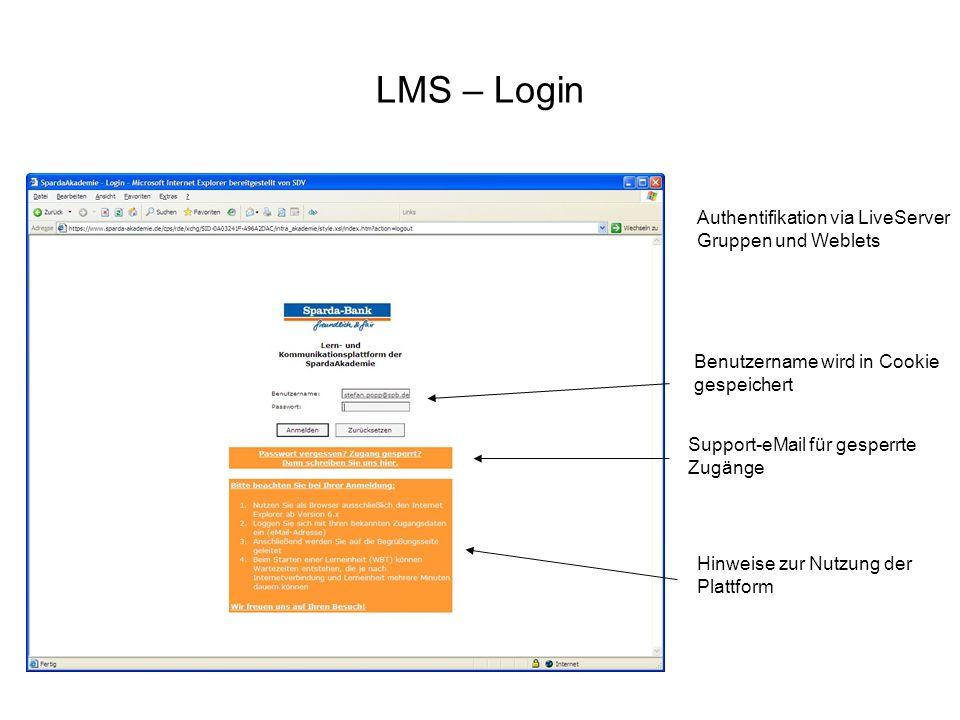 LMS – Login Benutzername wird in Cookie gespeichert Support-eMail für gesperrte Zugänge Hinweise zur Nutzung der Plattform Authentifikation via LiveSe