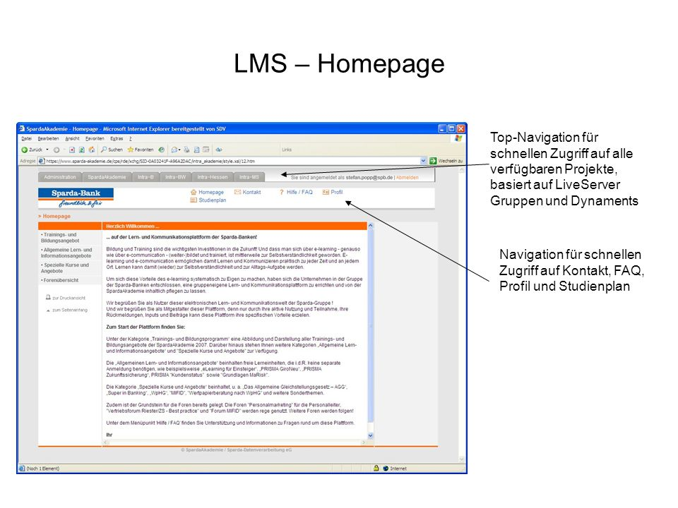 LMS – Homepage Top-Navigation für schnellen Zugriff auf alle verfügbaren Projekte, basiert auf LiveServer Gruppen und Dynaments Navigation für schnell