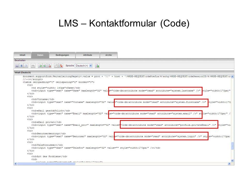 LMS – Kontaktformular (Code)