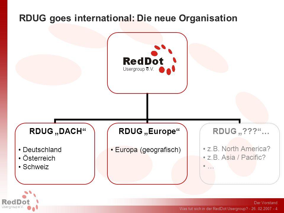 Der Vorstand Was tut sich in der RedDot Usergroup? - 26..02.2007 - 4 RedDot Usergroup e.V. RDUG goes international: Die neue Organisation