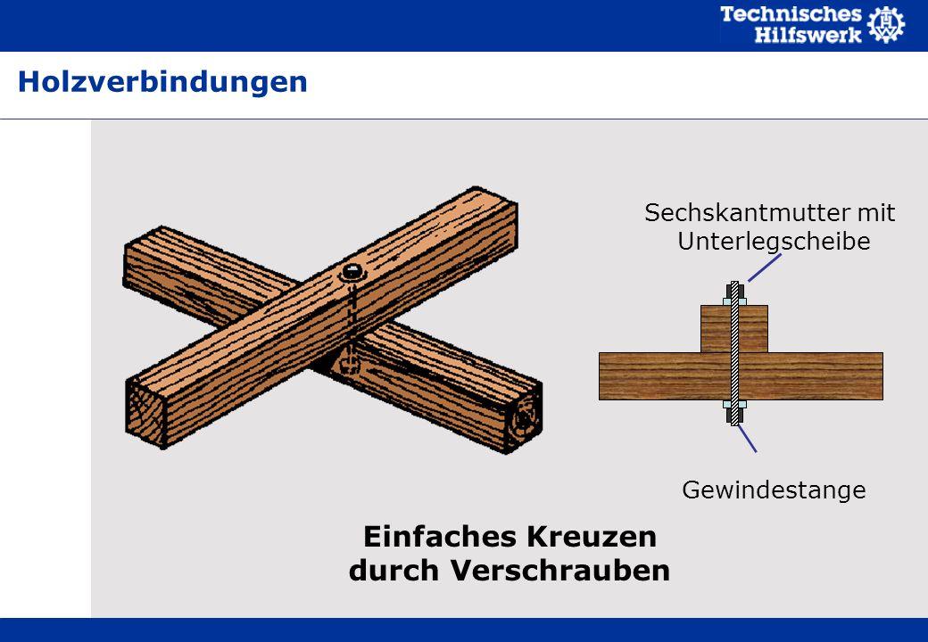 Einfaches Kreuzen durch Verschrauben Sechskantmutter mit Unterlegscheibe Gewindestange Holzverbindungen