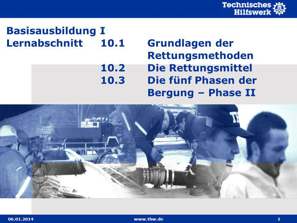 06.01.2014www.thw.de32 Stützhilfe durch zwei Helfer Kann der Verletzte nicht selbständig gehen, so muss er von zwei Helfern beim Gehen gestützt werden.