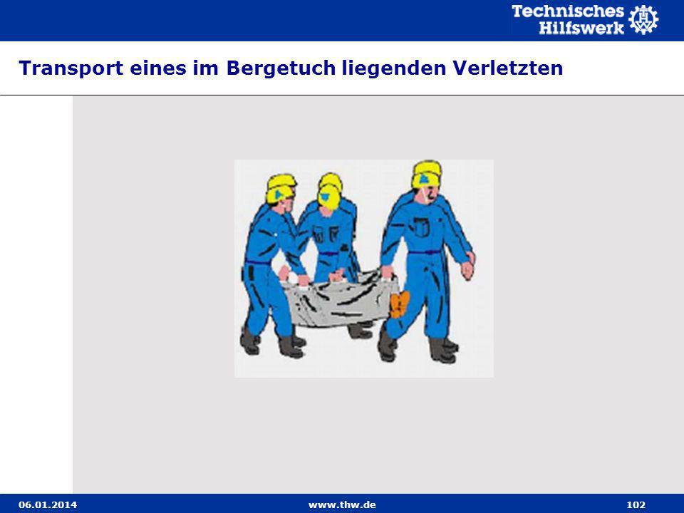 06.01.2014www.thw.de102 Transport eines im Bergetuch liegenden Verletzten