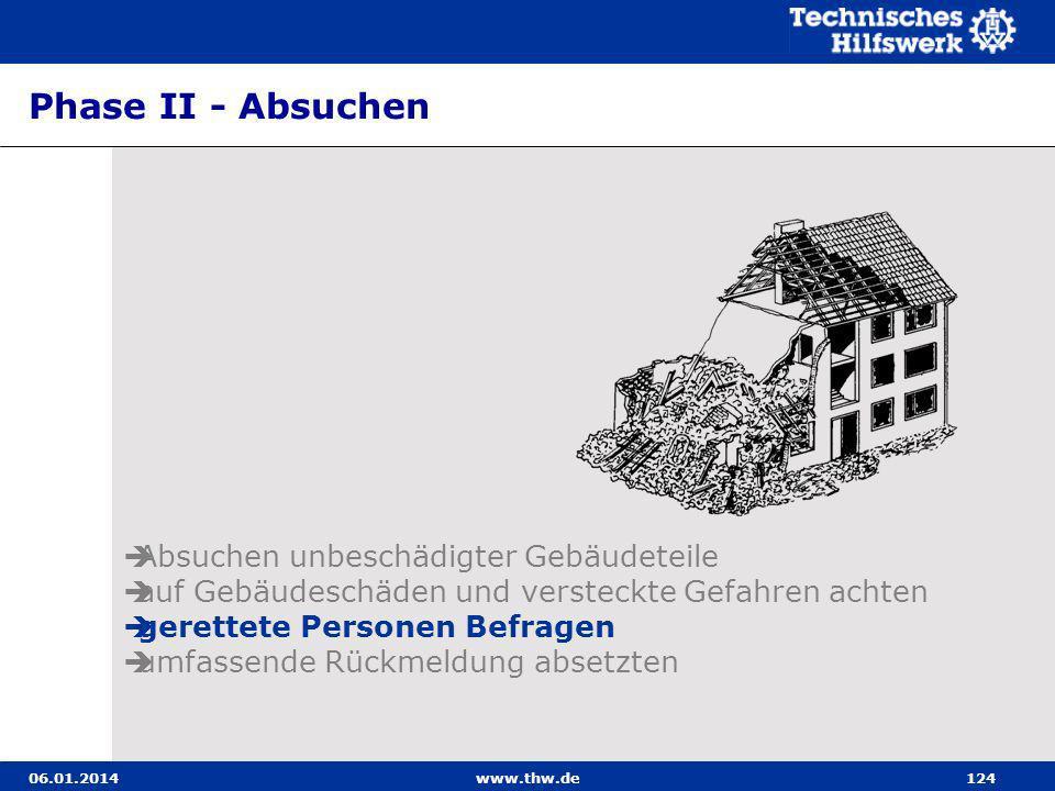 06.01.2014www.thw.de124 Phase II - Absuchen Absuchen unbeschädigter Gebäudeteile auf Gebäudeschäden und versteckte Gefahren achten gerettete Personen