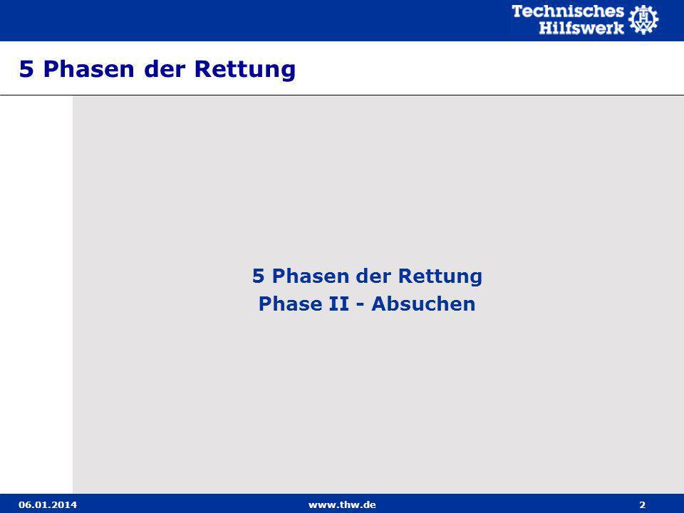 06.01.2014www.thw.de3 Phase II - Absuchen Ziele: In dieser Phase erfolgt das Durchsuchen aller zugäng- lichen Räume in der Schadenstelle.