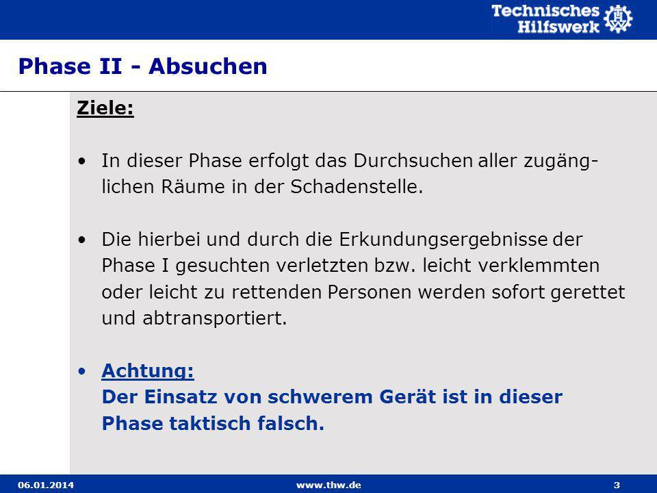 06.01.2014www.thw.de3 Phase II - Absuchen Ziele: In dieser Phase erfolgt das Durchsuchen aller zugäng- lichen Räume in der Schadenstelle. Die hierbei