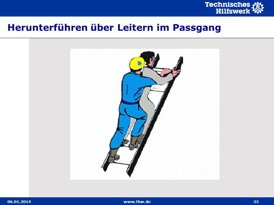 06.01.2014www.thw.de33 Herunterführen über Leitern im Passgang