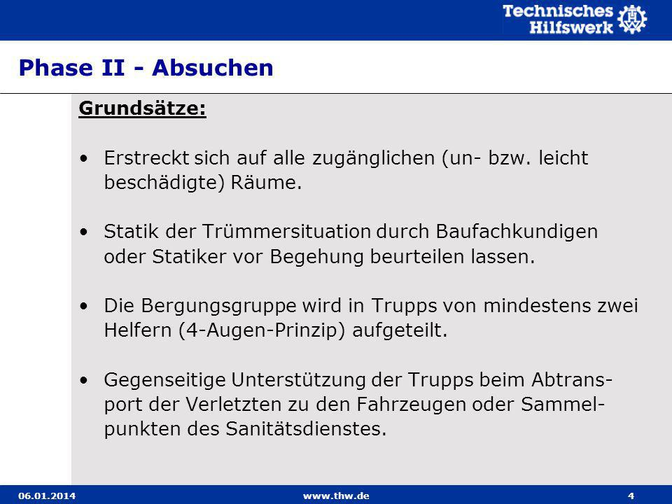 06.01.2014www.thw.de5 Phase II - Absuchen Grundsätze: Unterführer hält sich in der Nähe der von ihm einge- setzten Kräfte auf.