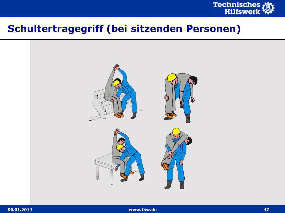 06.01.2014www.thw.de47 Schultertragegriff (bei sitzenden Personen)